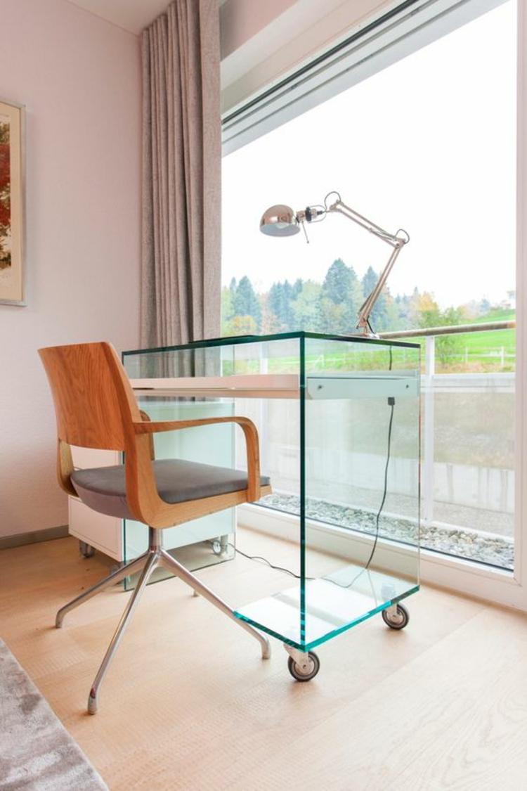 Büromöbel Glasschreibtisch auf Rollen Home Office einrichten