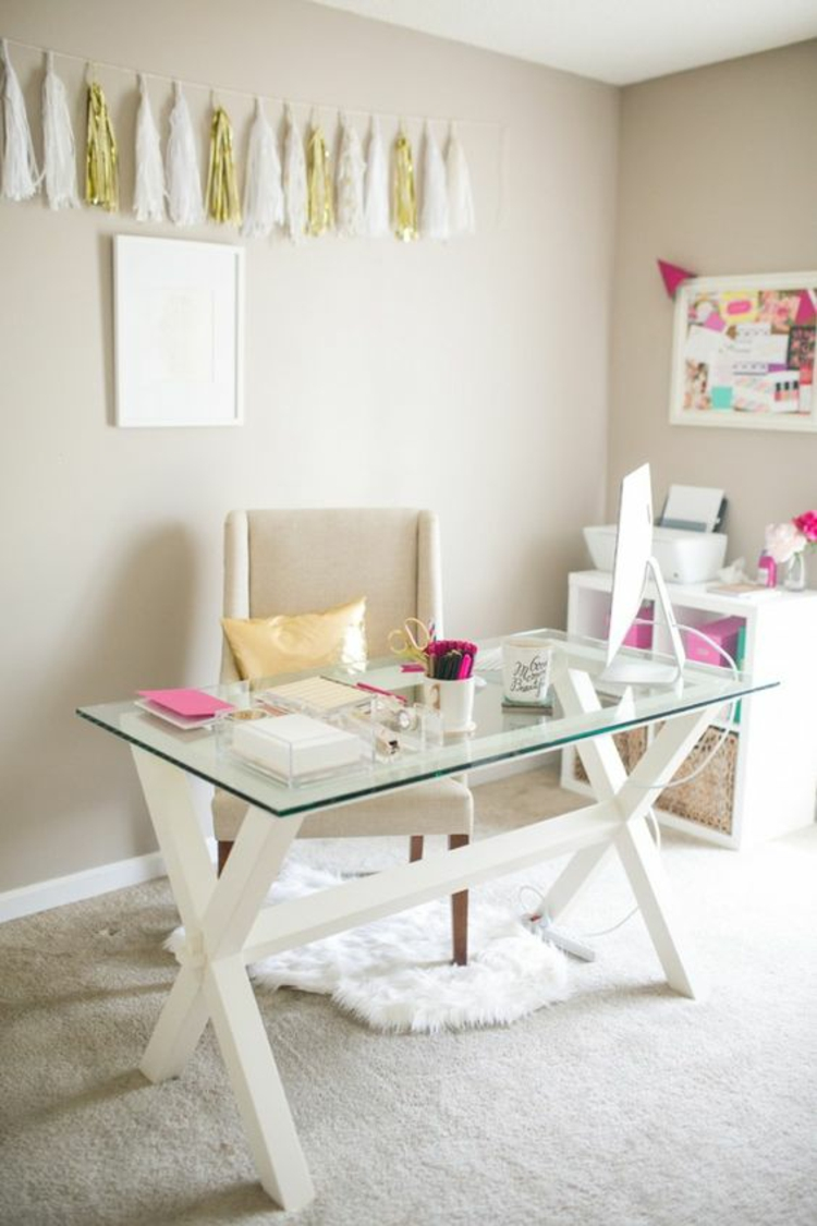 Büromöbel Ideen Glasschreibtisch Home Office einrichten