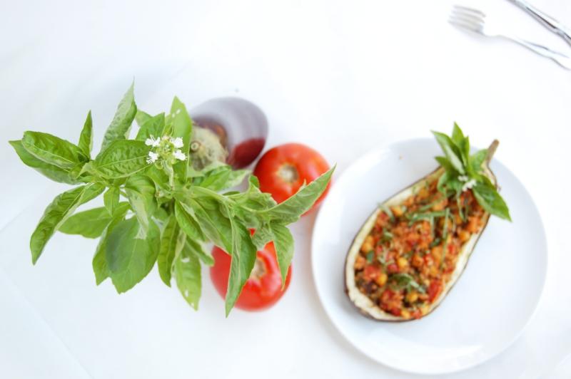 Basilikum Pflanze frische Basilikum Aubergine Tomaten