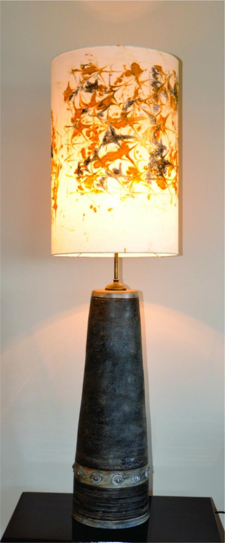 Designer Lampenschirme Marmoriertechnik Lampenfüße Ton Unikate Nachttischlampe