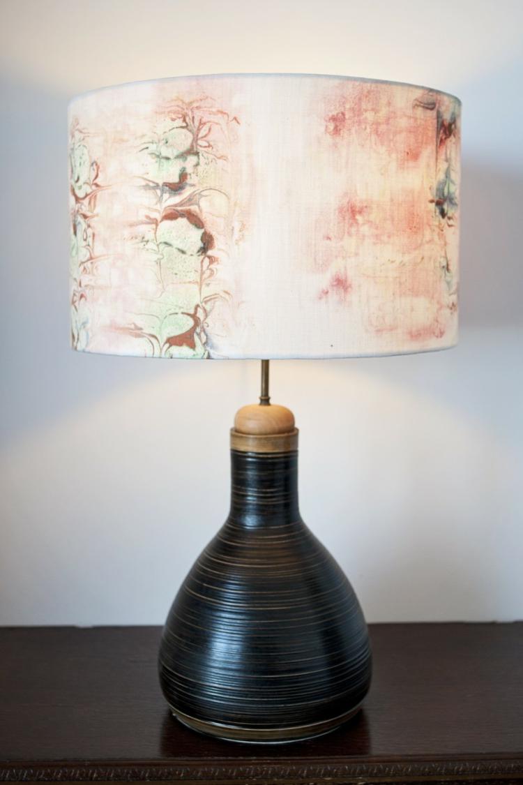 Designer Lampenschirme Marmoriertechnik Lampenfüße Ton Unikate Stehlampe