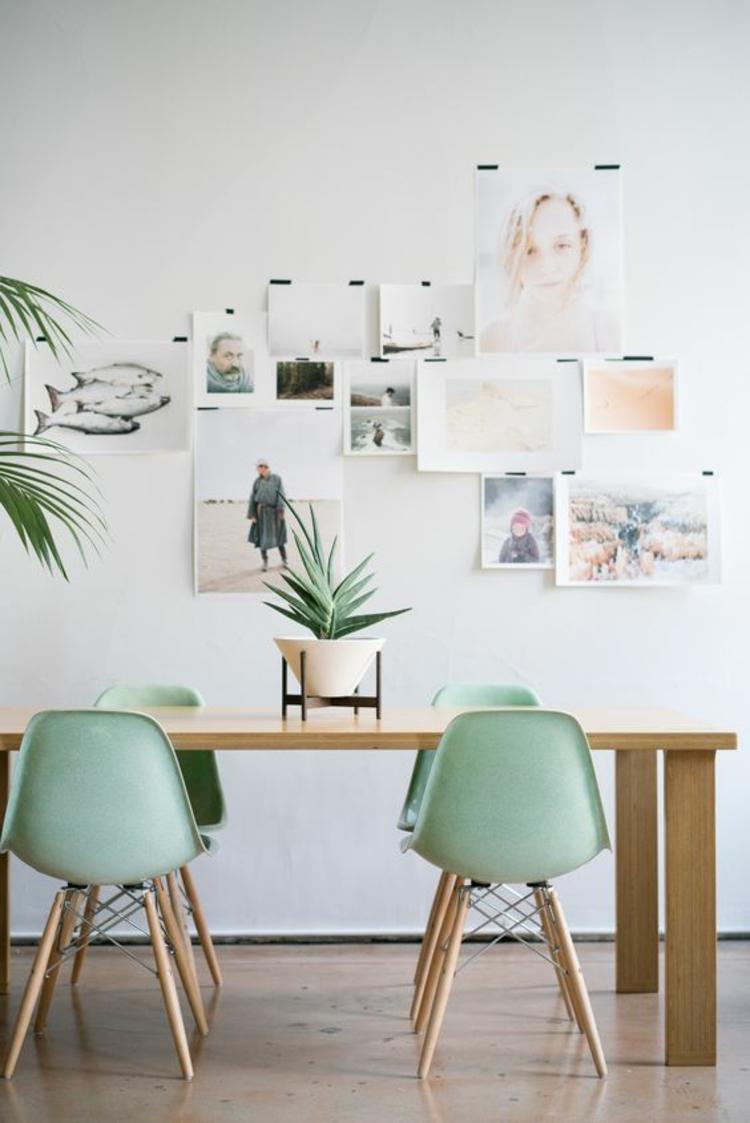 Einrichtungsbeispiele Esszimmer gestalten grüne Aemes Chairs