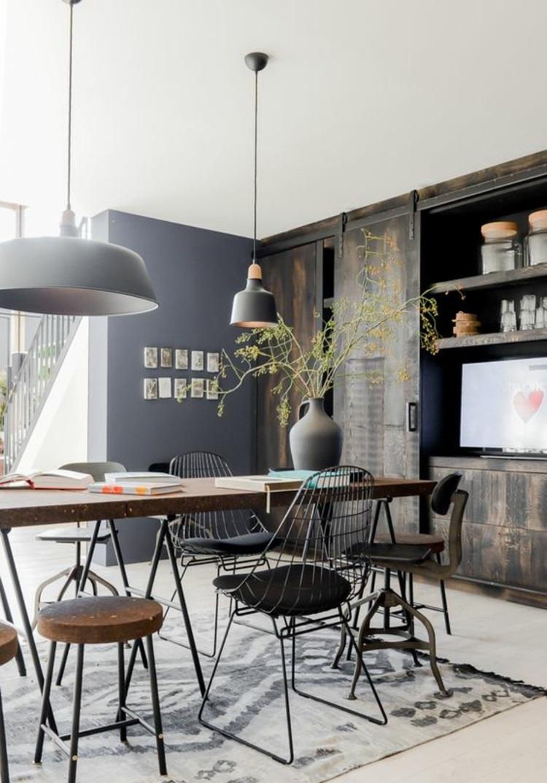 Esszimmer Ideen rustikale Einrichtungsbeispiele unterschiedliche Esszimmerstühle