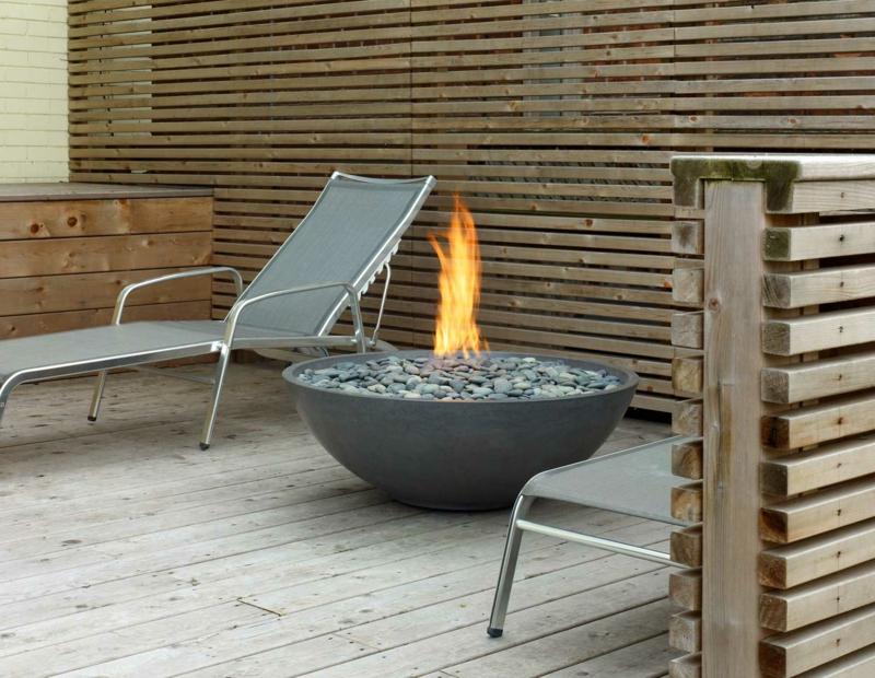 Feuerschalen Stein Deko Kamin Garten Sommerhaus gemütlich abends