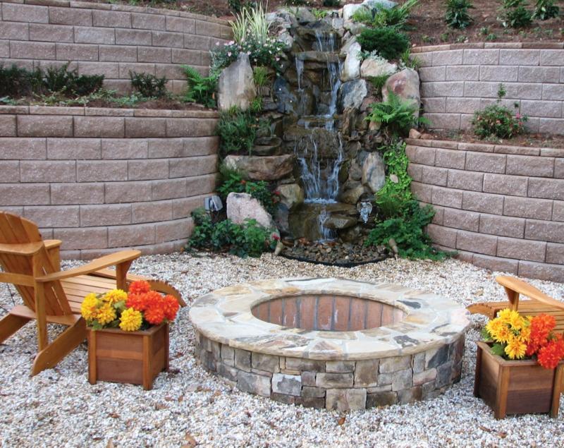 Feuerstelle bauen Wasserquelle Stein Steine und Kies Gartengestaltung gemütliche Sommerabende