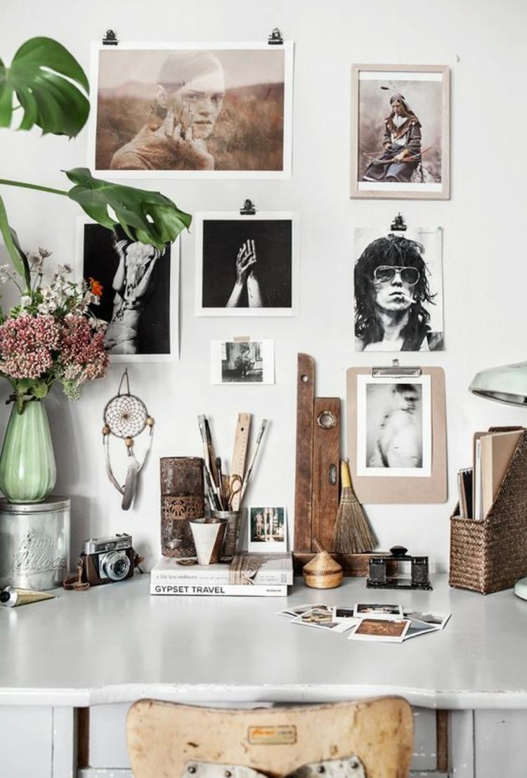 Fotowand Ideen Arbeitsplatz Wand dekorieren Home Office dekorieren