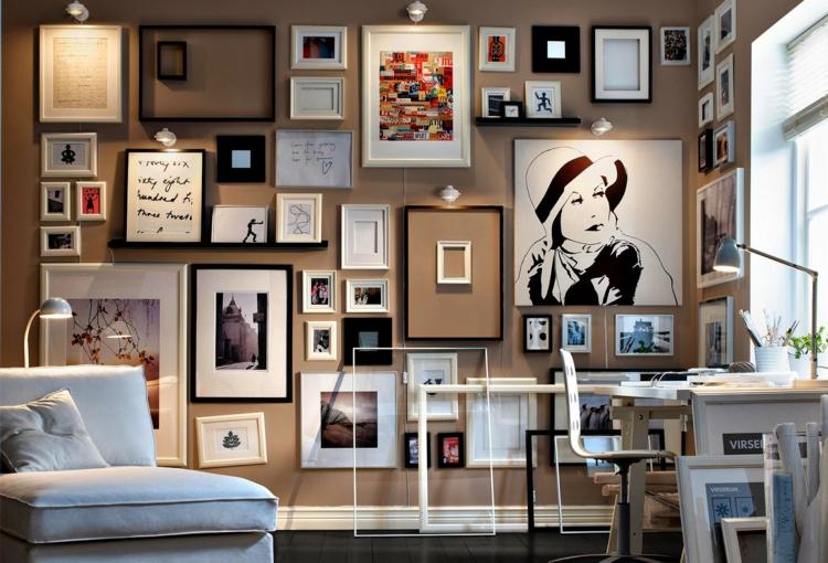 Fotowand Ideen Arbeitszimmer einrichten Wände dekorieren