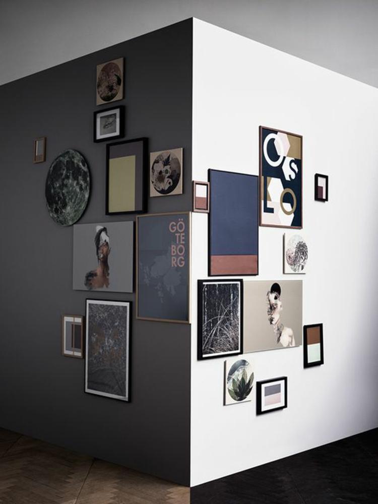 Fotowand Ideen Bilderleisten Wände dekorieren Ecke Bilder