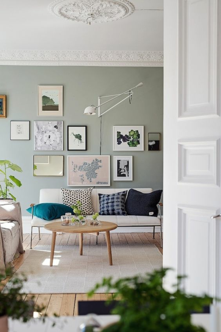 Fotowand Ideen Bilderleisten Wand Wohnzimmer Deko