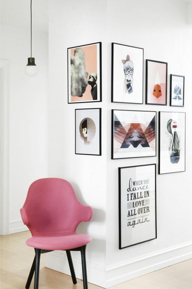 Schon Stilvolle Fotowand Ideen Zum Selbermachen. Fotowand Ideen Bilderleisten  Wand Dekorieren Ecke Mit Bildern Gestalten
