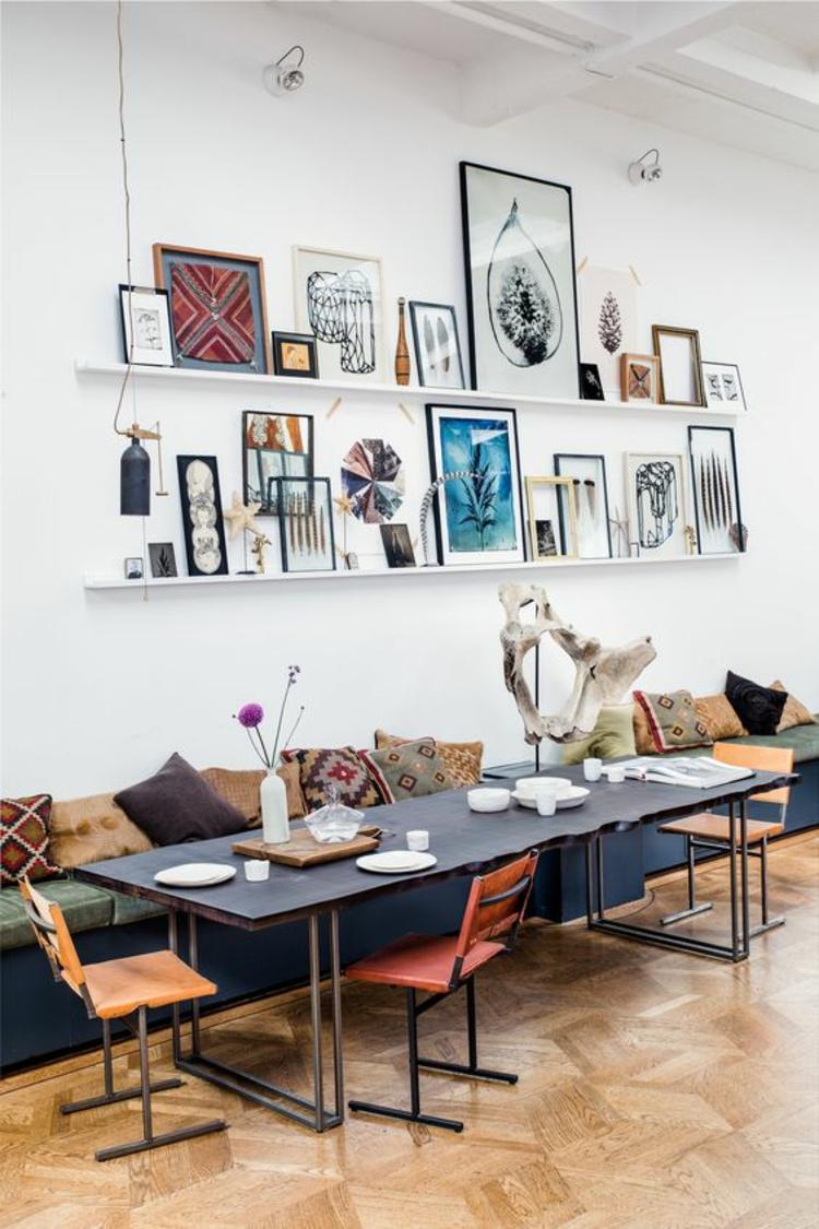 Fotowand Ideen Bilderleisten Wand dekorieren
