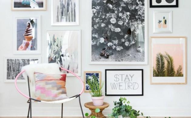 Fotowand-Ideen-Bilderleisten-Wohnzimmer-Wand-dekorieren