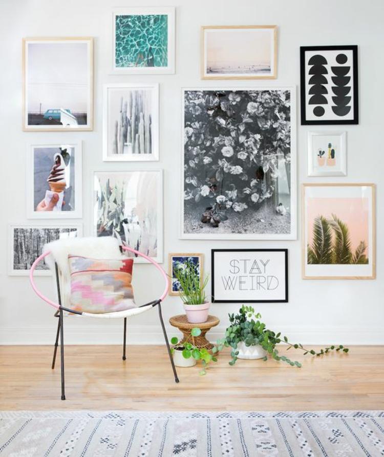 Fotowand Ideen Bilderleisten Wohnzimmer Wand dekorieren