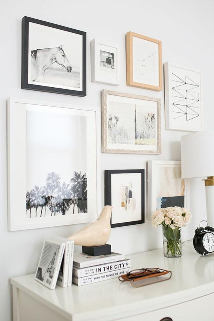 Fotowand Ideen Bilderleisten weiß Wand dekorieren Wohnzimmer