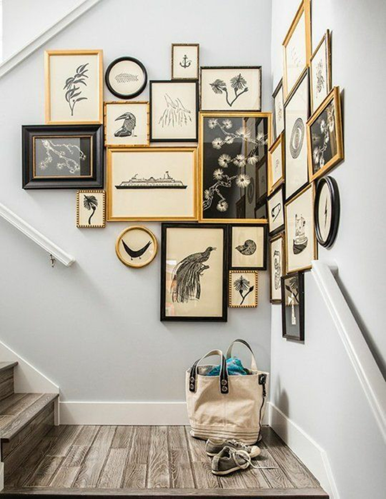 Fotowand Ideen Bilderrahmen Flur Wand dekorieren Treppenhaus