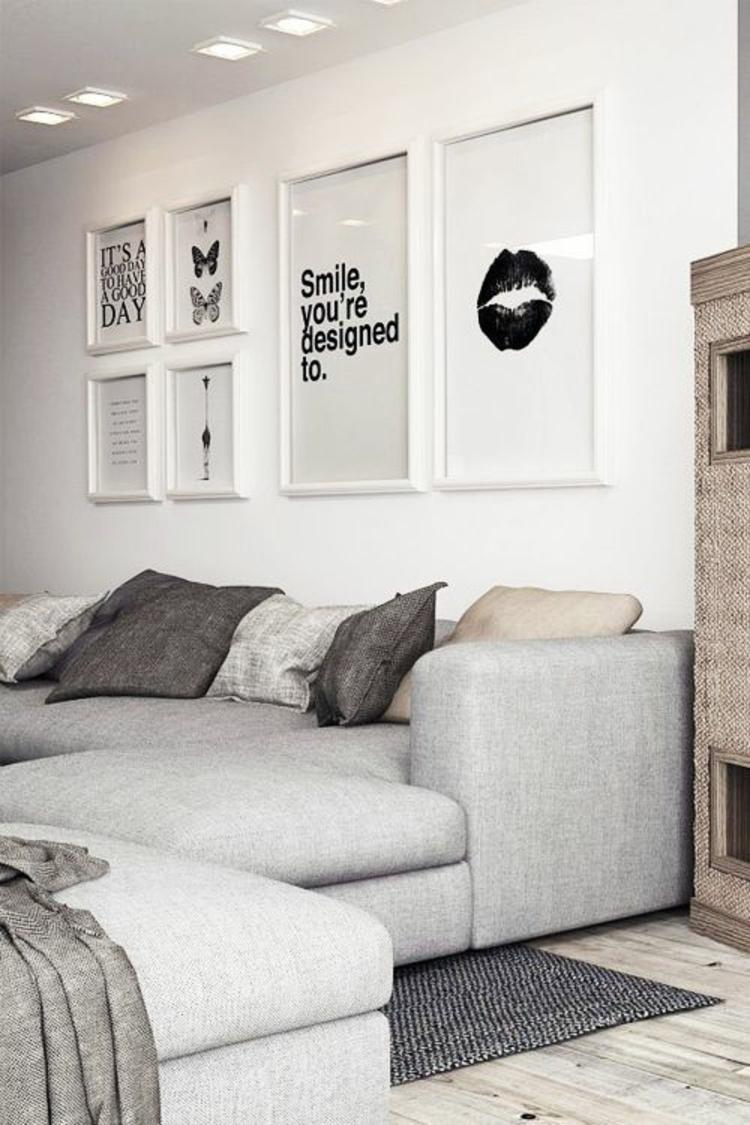 Fotowand Ideen Bilderrahmen Wand dekorieren Wohnzimmer Deko Ideen