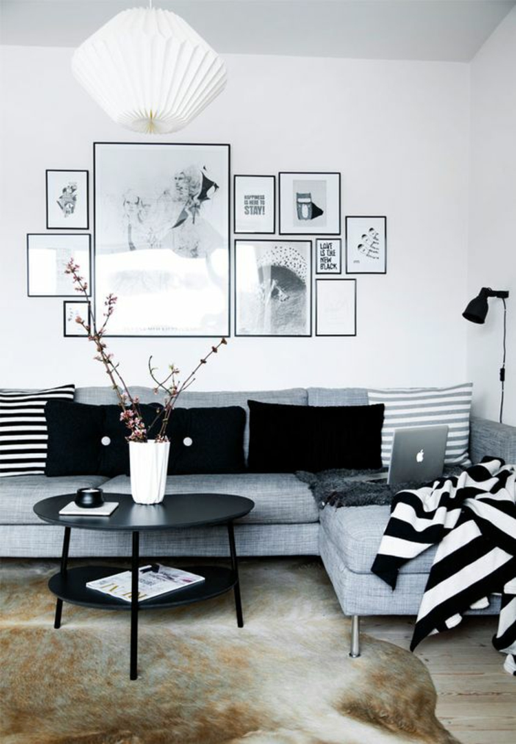 Fotowand Ideen Bilderrahmen Wand dekorieren schwarz weiß