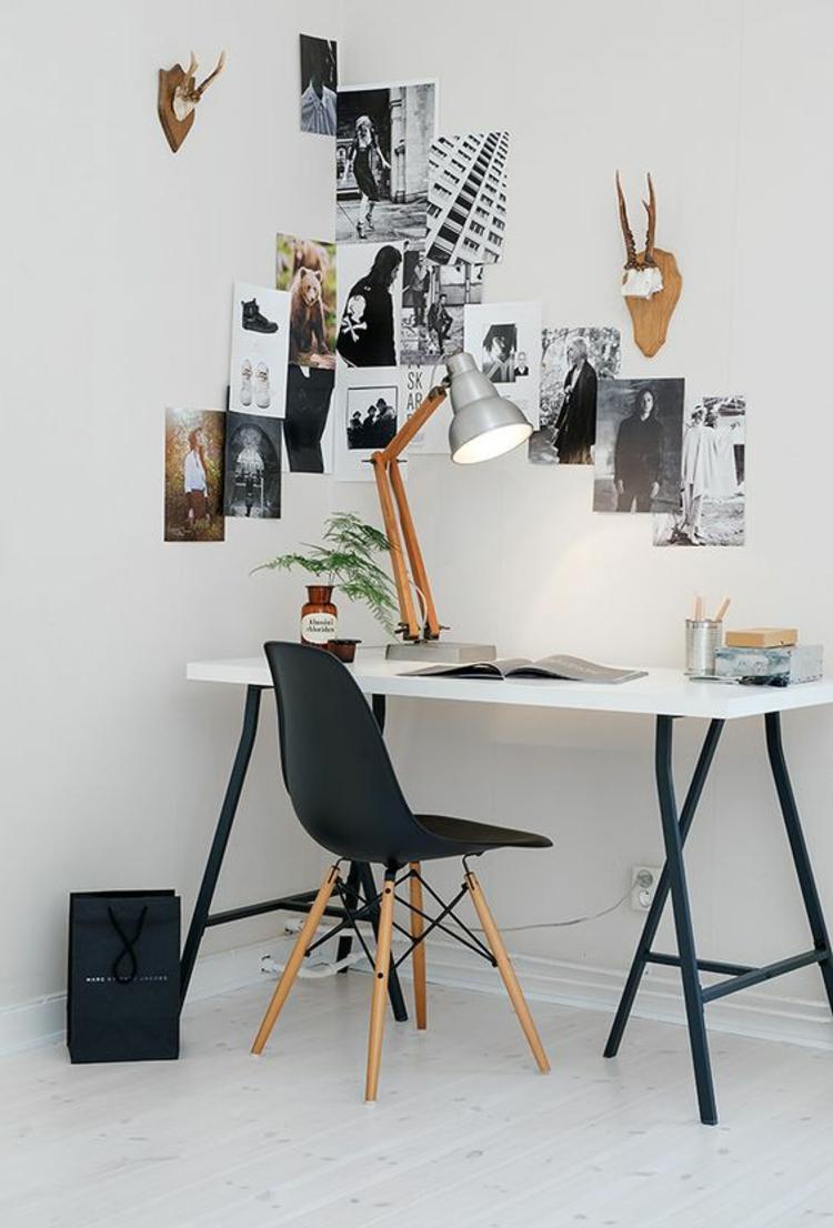 Fotowand Ideen Home Office einrichten Wände dekorieren