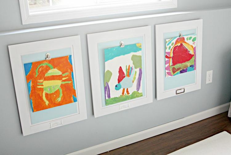 Fotowand Ideen Kinderezimmer Wand dekorieren Kinderzeichnungen