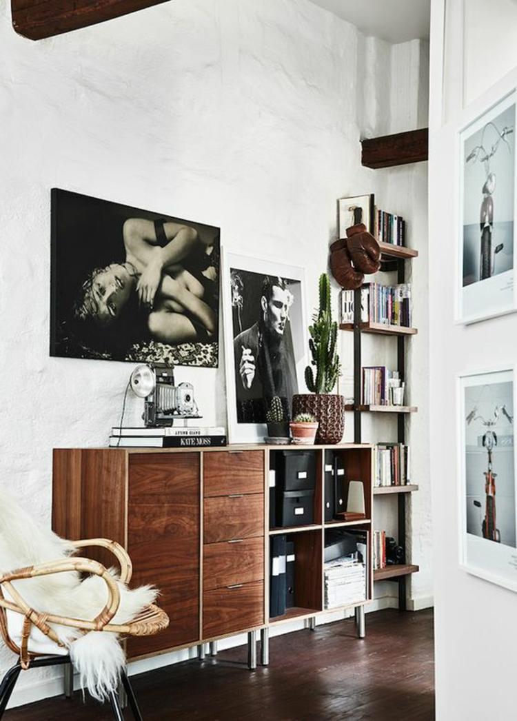 Fotowand Ideen Retro Akzente Wohnzimmer Wände dekorieren schwarz weiß Fotos