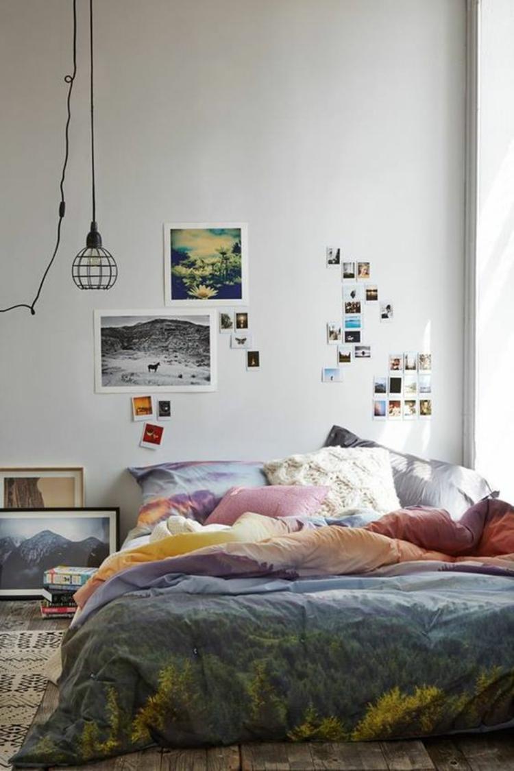 Fotowand Ideen Schlafzimmer Wand dekorieren Bilderrahmen