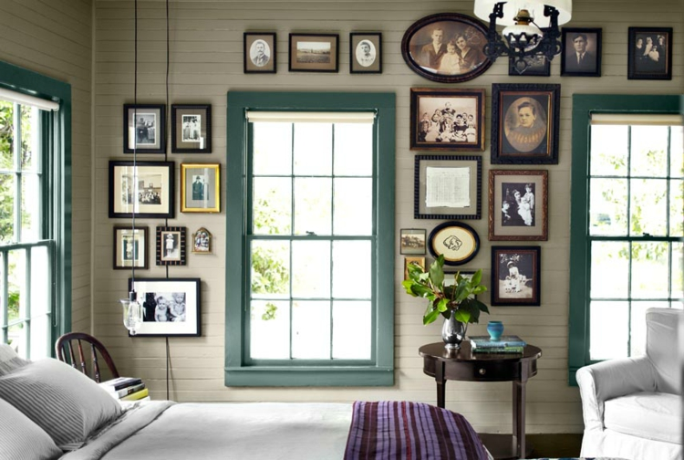 Ideen für Fotowand Wand dekorieren Bilderrahmen klassisches Schlafzimmer