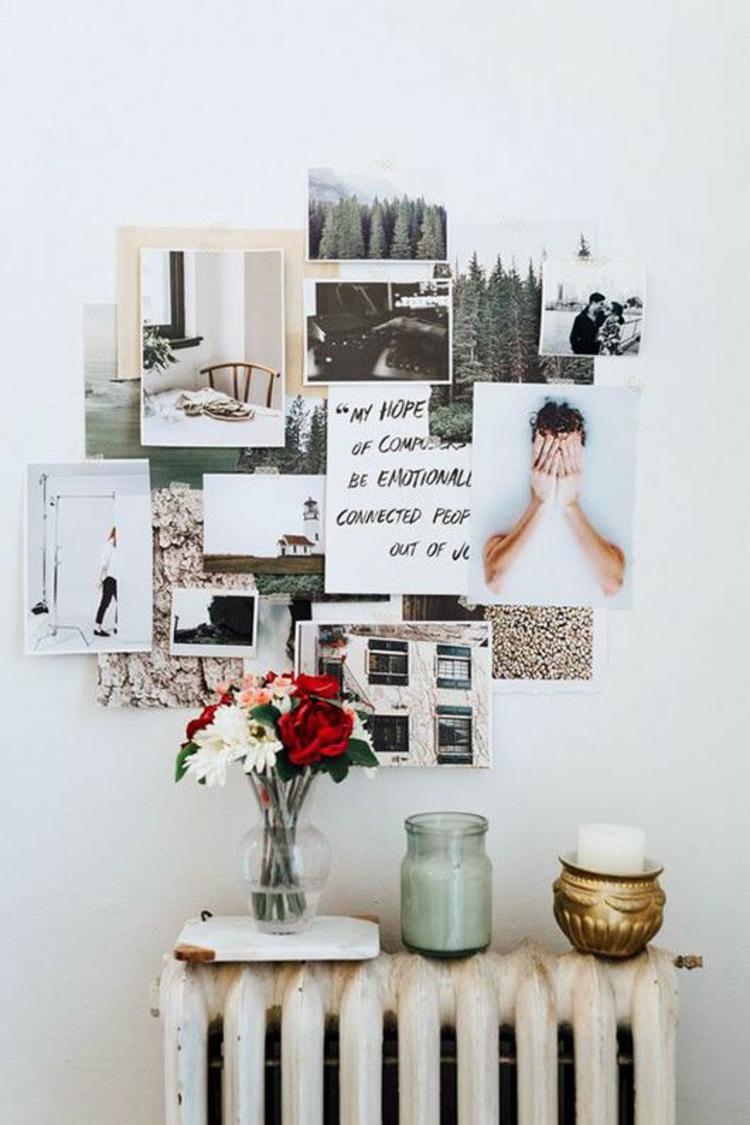 Ideen für Fotowand Wand dekorieren Heizkörper