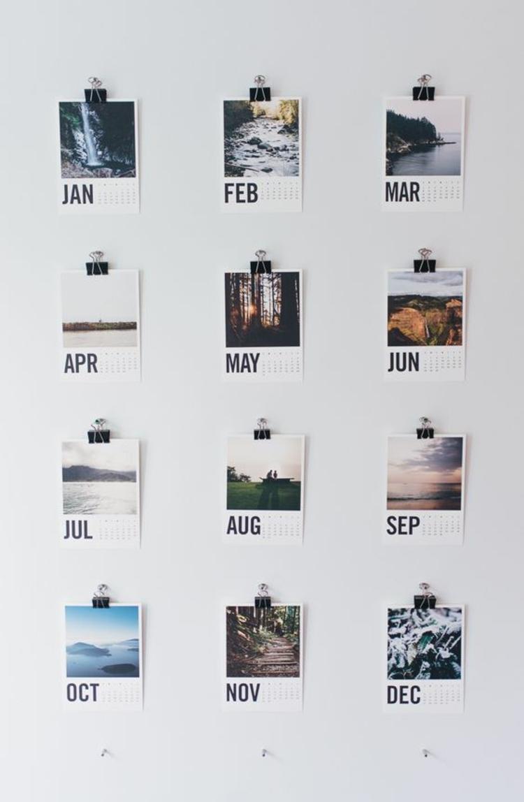 Ideen für Fotowand Wandkalender selber machen Wand dekorieren