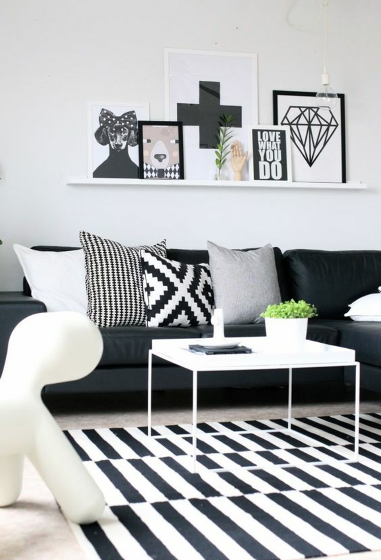 wohnzimmer weiß schwarz:Ideen für Fotowand Wohnzimmer Wand Bilderrahmen schwarz weiß