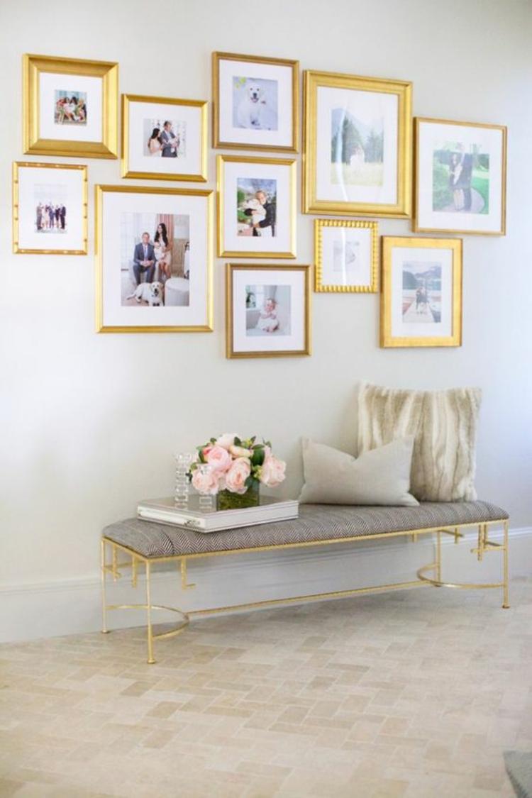 Ideen für Fotowand Wohnzimmer Wand dekorieren goldene Bilderrahmen