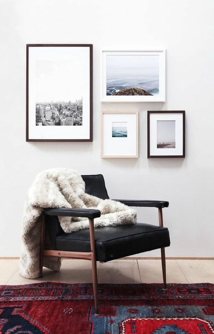Ideen für Fotowand Wohnzimmer Wand dekorieren Bilderrahmen