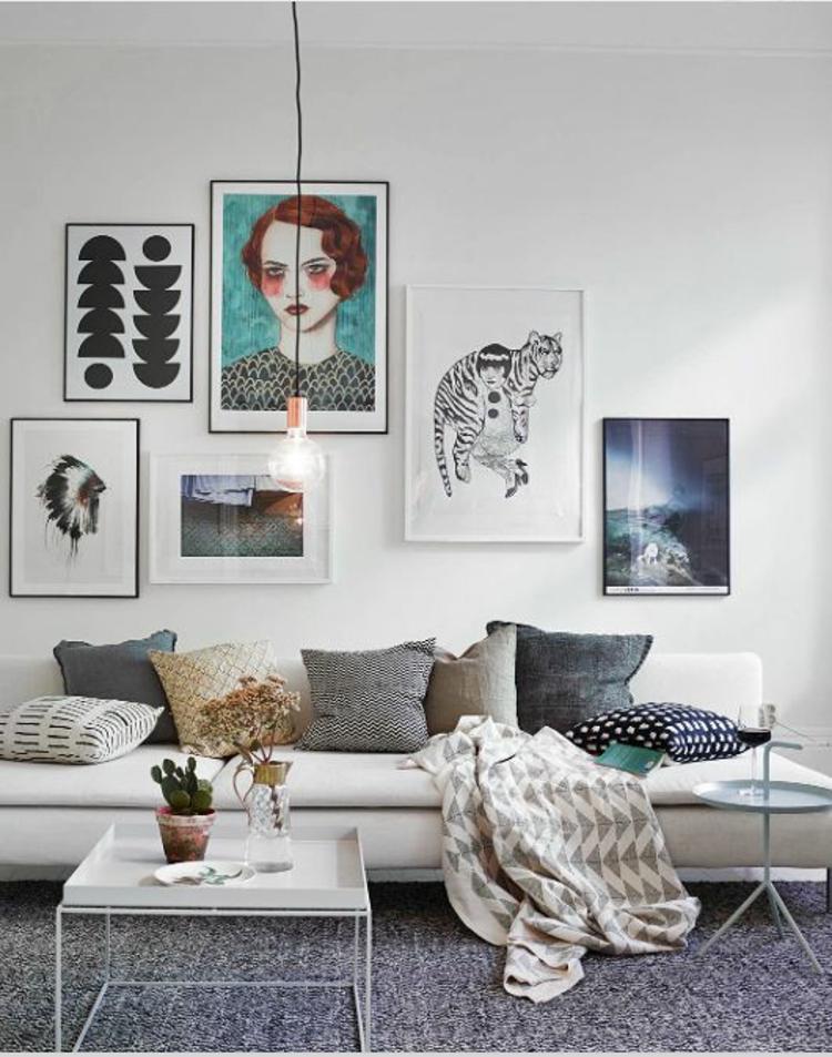 Fotowand Ideen kreative Wandgestalting Wohnzimmer Deko