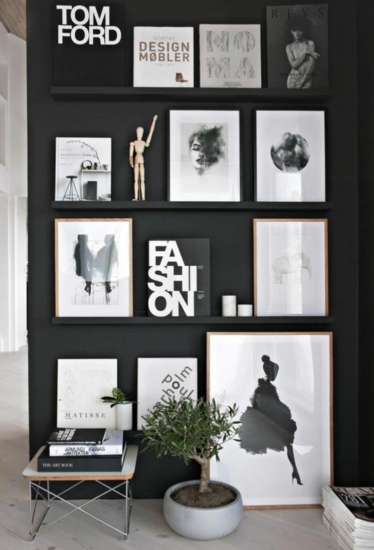 Fotowand Ideen kreative Wandgestaltung schwarz weiß
