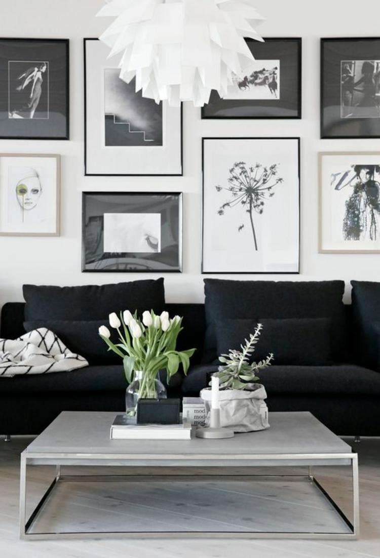 Fotowand Ideen Schwarz Weiß Wohnzimmer Wand Dekorieren