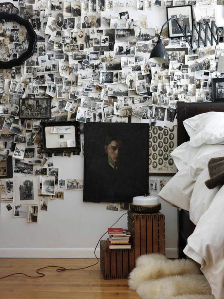 Fotowand Ideen und Beispiele Schlafzimmer Wände dekorieren schwarz weiße Fotos