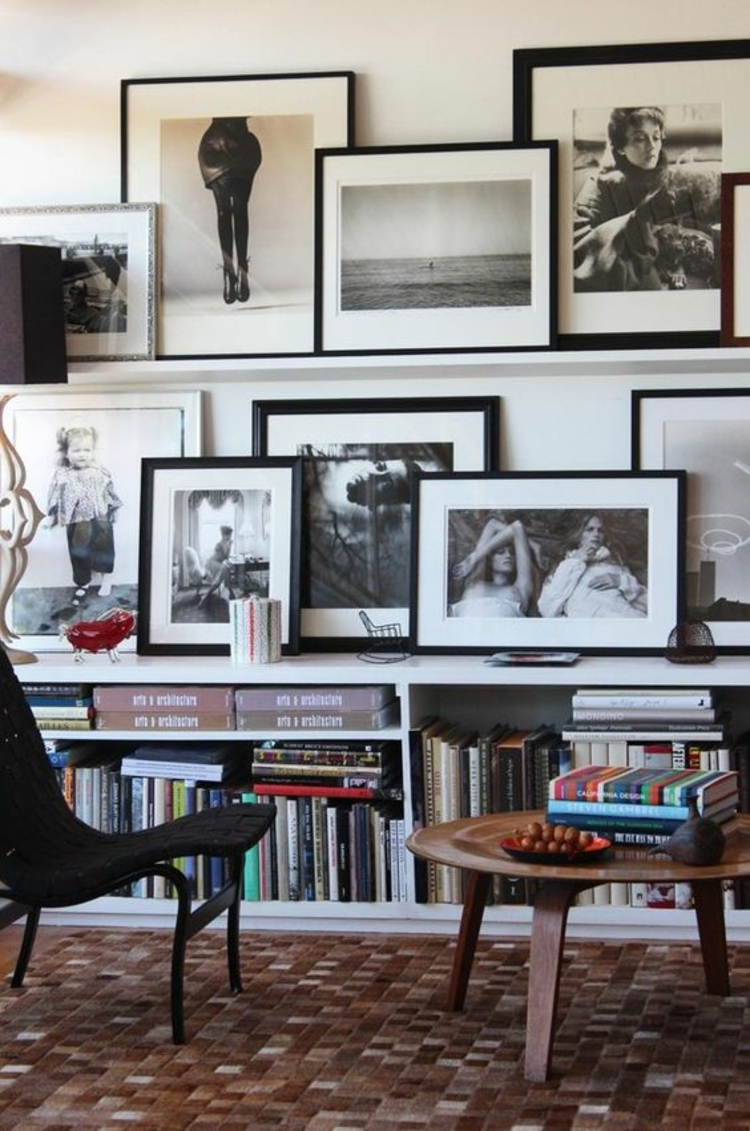 Ideen für Fotowand und Beispiele Wohnzimmer Wände dekorieren