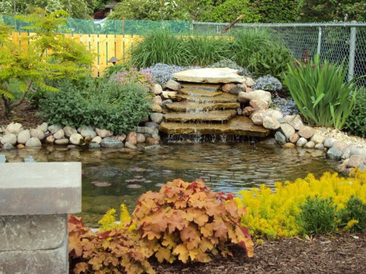 Gartenteich Bilder Gartenideen Wasser Stein und Pflanzen