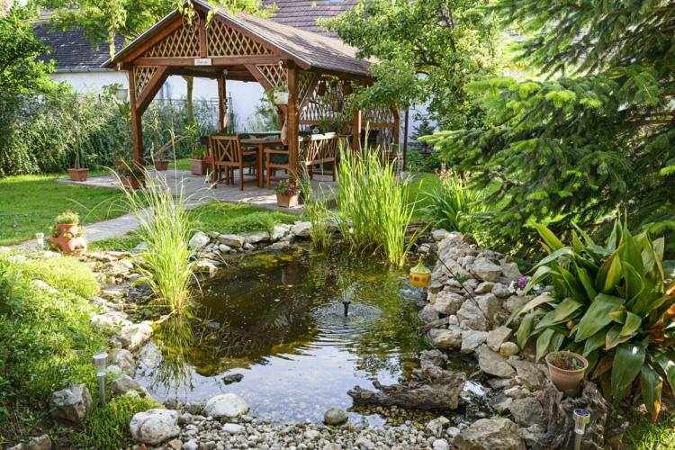 Gartenteich Bilder Gartenideen Wasserpflanzen Teich Gartenlaube Holz