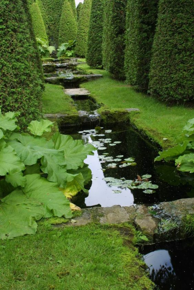 Gartenteich Bilder kreative Gartengestaltung Hecke Gartenkunst Wasserpflanzen Teich