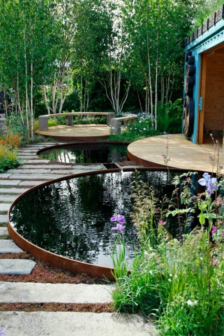 1001 ideen und gartenteich bilder f r ihren traumgarten for Round fish pond
