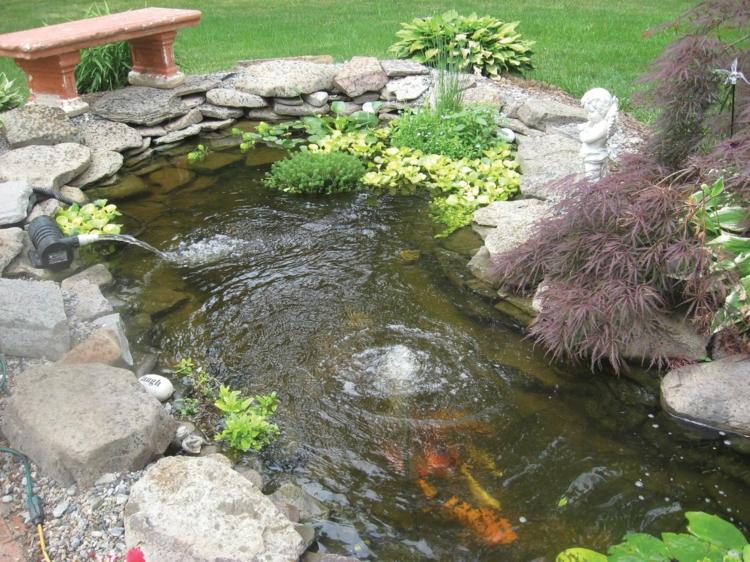 Gartenteiche fliessendes Wasser Gartengestaltung Fischteich Koi