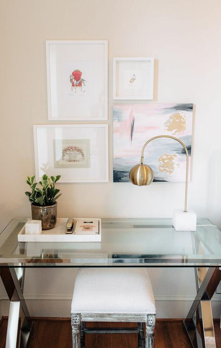 Glasschreibtisch Home Office einrichten Einrichtungsideen