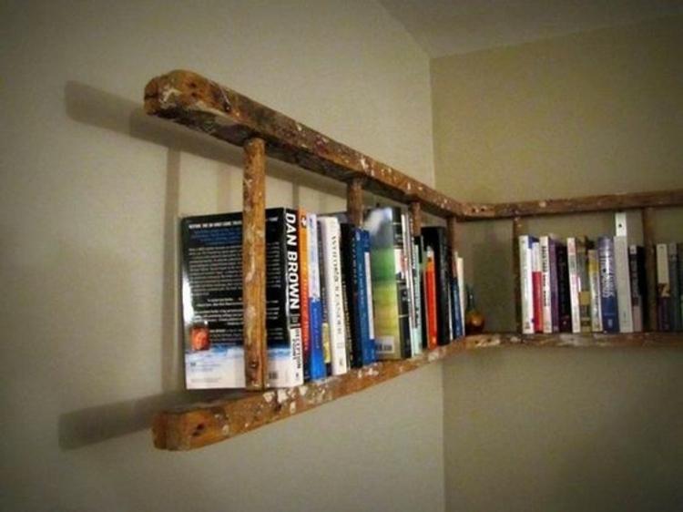 Holzleiter DIY Möbel Holzleiter Bücherregal selber machen