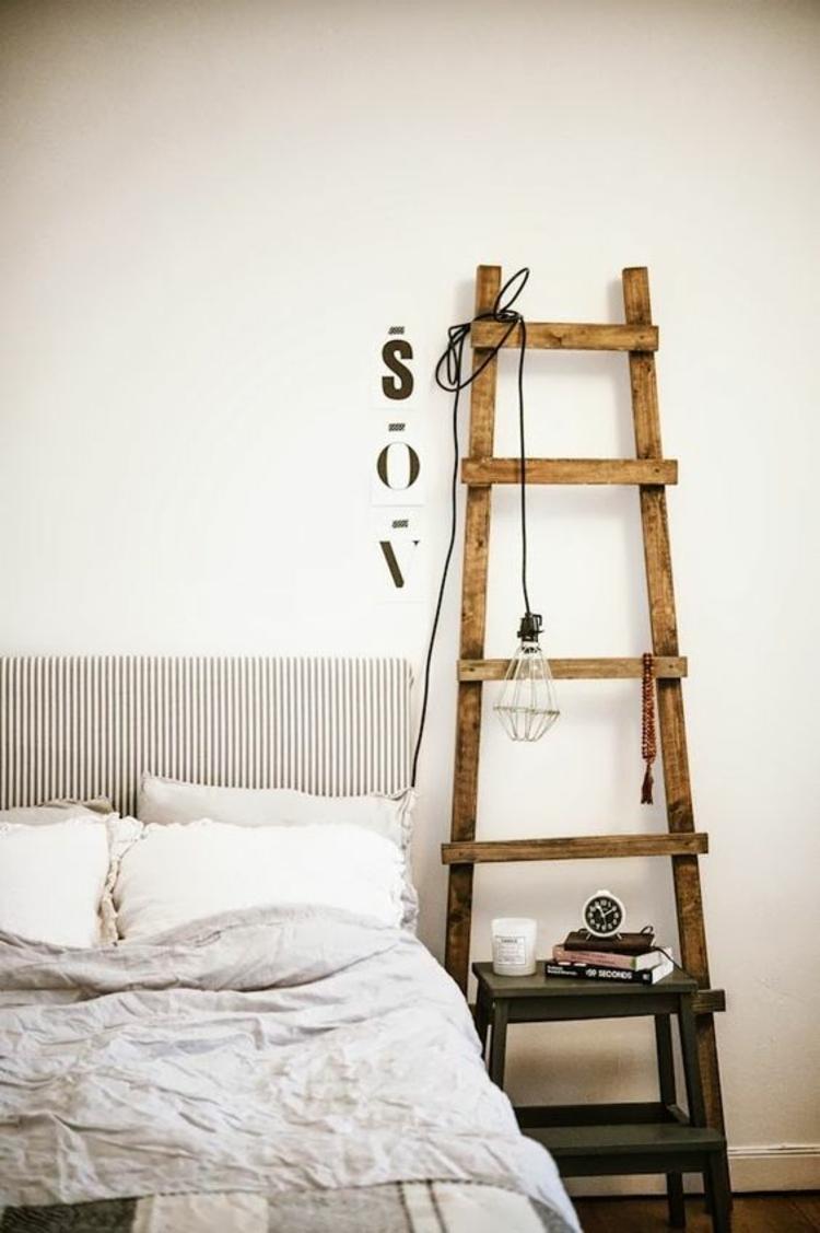 Holzleiter Schlafzimmer Möbel Nachttisch Pendelleuchte