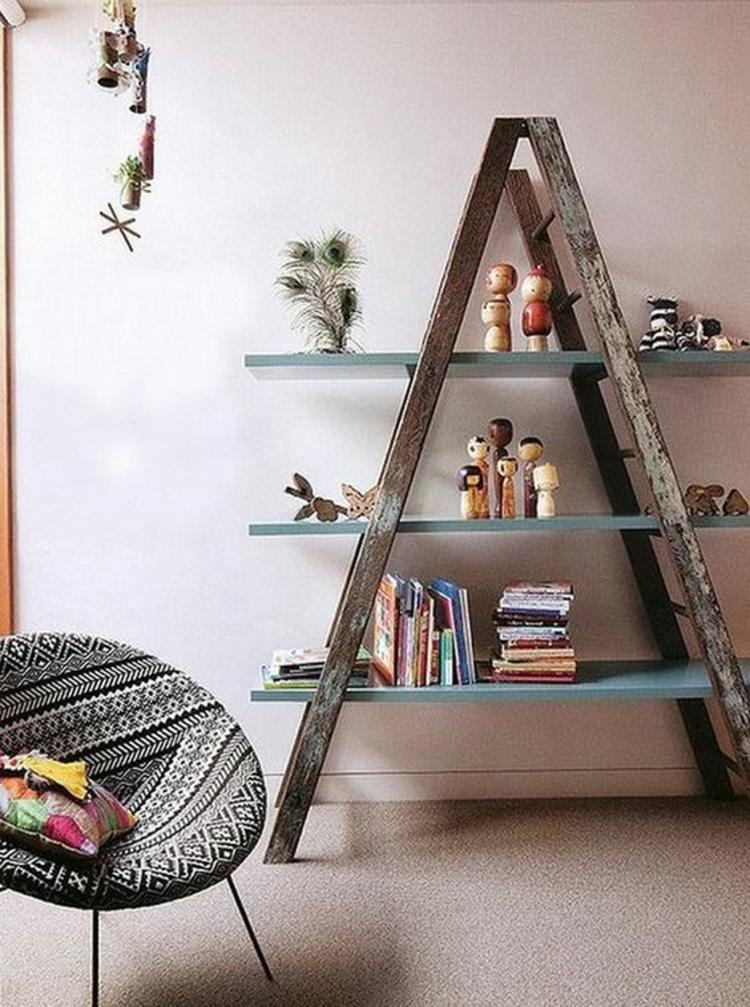 Holzleiter Wohnzimmer Möbel Bücherregal Leseecke gestalten