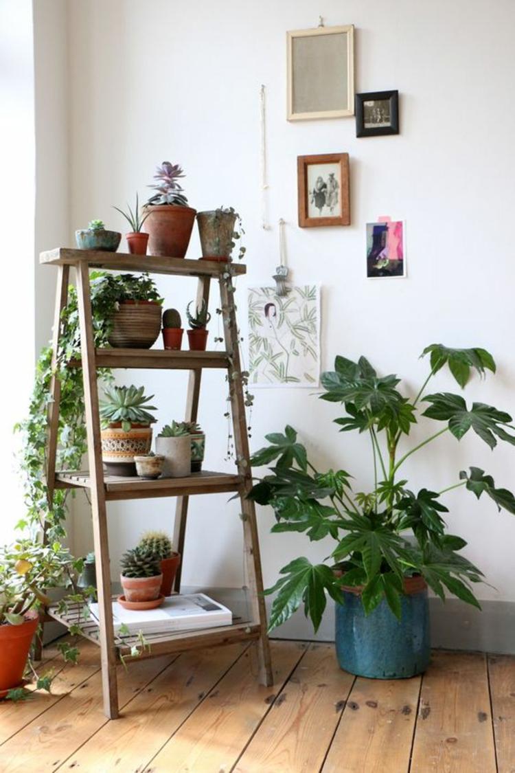 Holzleiter Wohnzimmer Möbel Zimmerpflanzen Regal