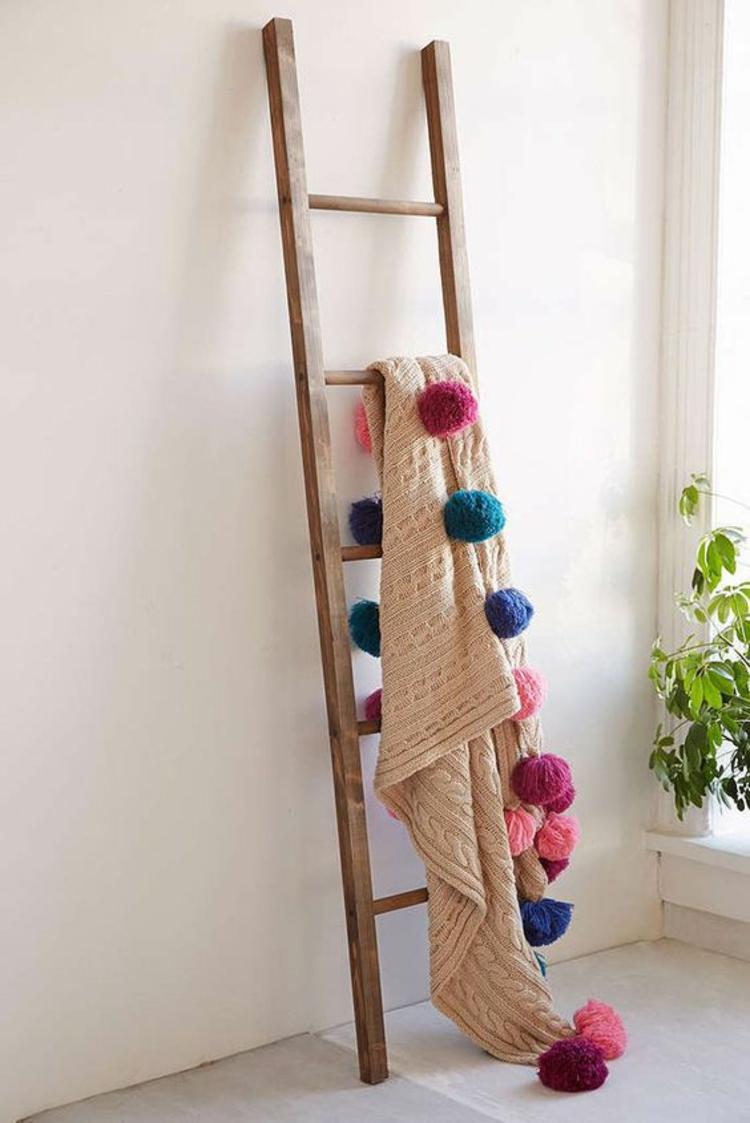 Holzleiter Wohnzimmer Möbel rustikale Einrichtung Deko Ideen