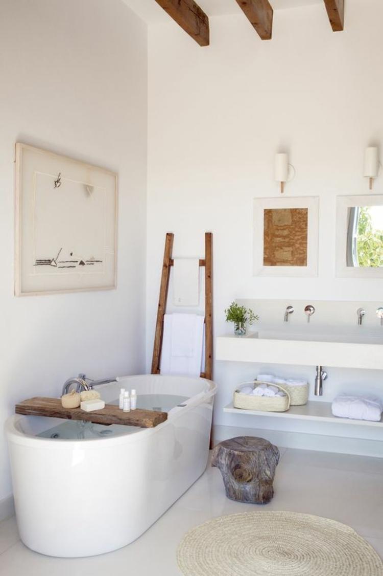 Holzleiter modernes Badezimmer Regal Badmöbel Handtücher Leiter Holz