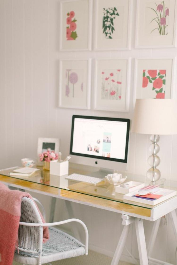 Holztisch mit Glasplatten Glasschreibtisch Home Office einrichten