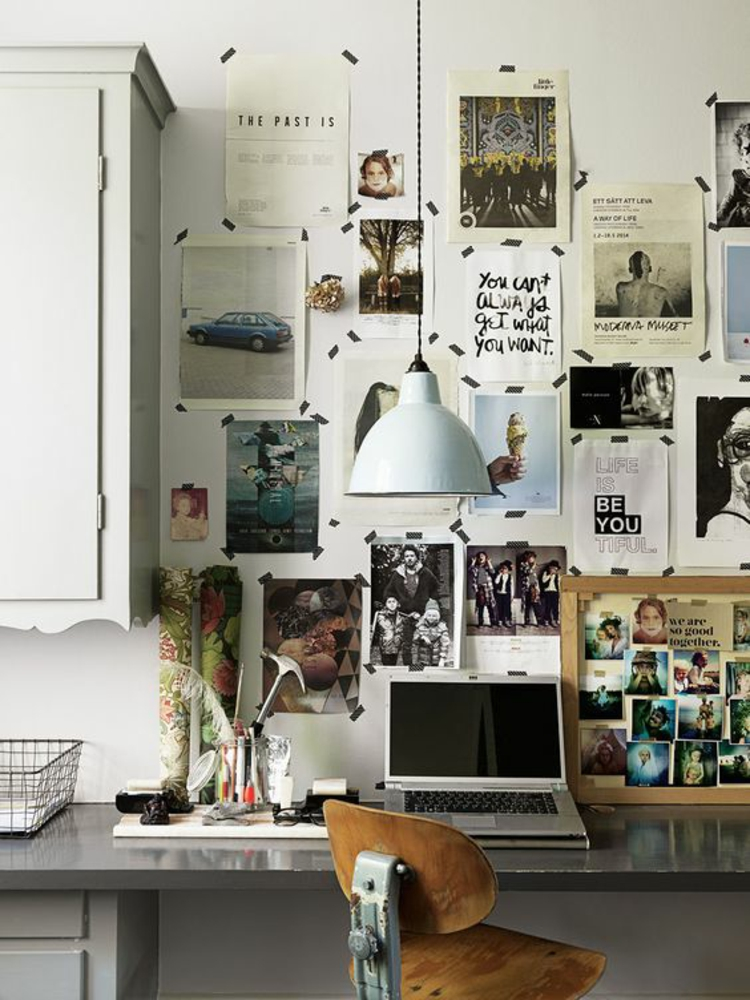 Ideen für Fotowand Arbeitszimmer Wand dekorieren
